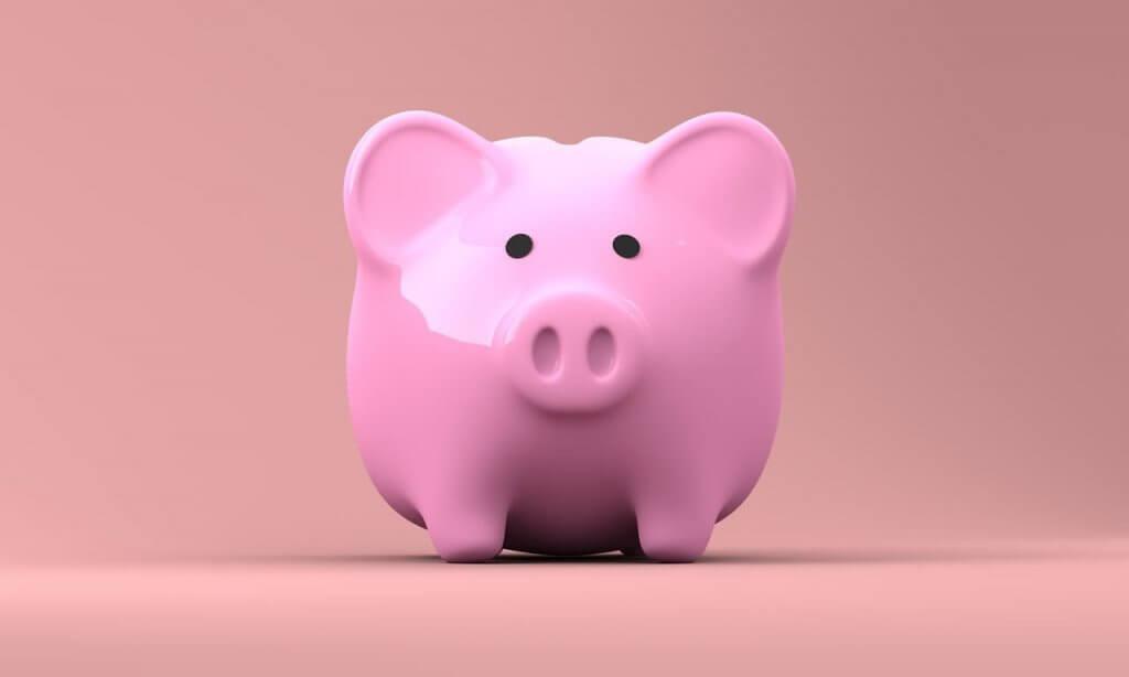 Cofrinho de porco para economizar dinheiro